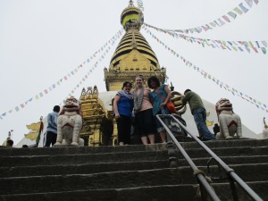 Our team at the top of the Monkey Temple for Buddhist and Hindu believers.