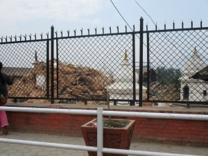 The remains of a Hindu temple following the April 25th earthquake.